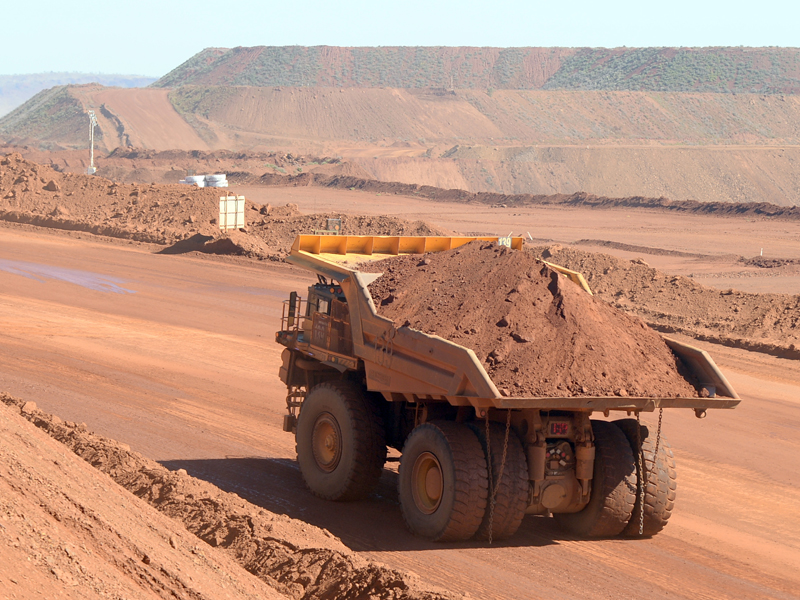 Haulage truck at the Rio Tinto West Angelas iron ore mine in the Pilbara region of West Australia Wednesday, July 9, 2014.  (AAP Image/Alan Porritt) NO ARCHIVING