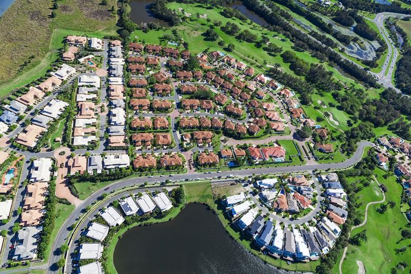 Aerial view of new luxury australian neighborhood